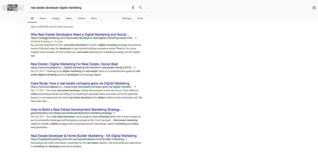 Google Review Star Rating Rich Snippets in Organic Search Results Example