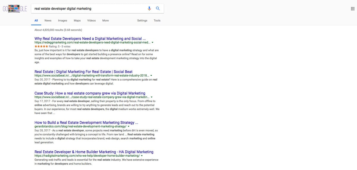 Google Star Ratings in Organic Search Example