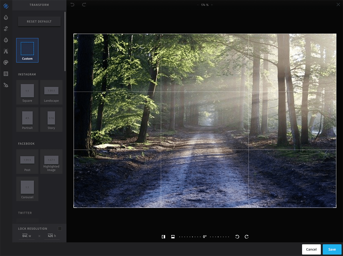 Screenshot of Hootsuite image editor