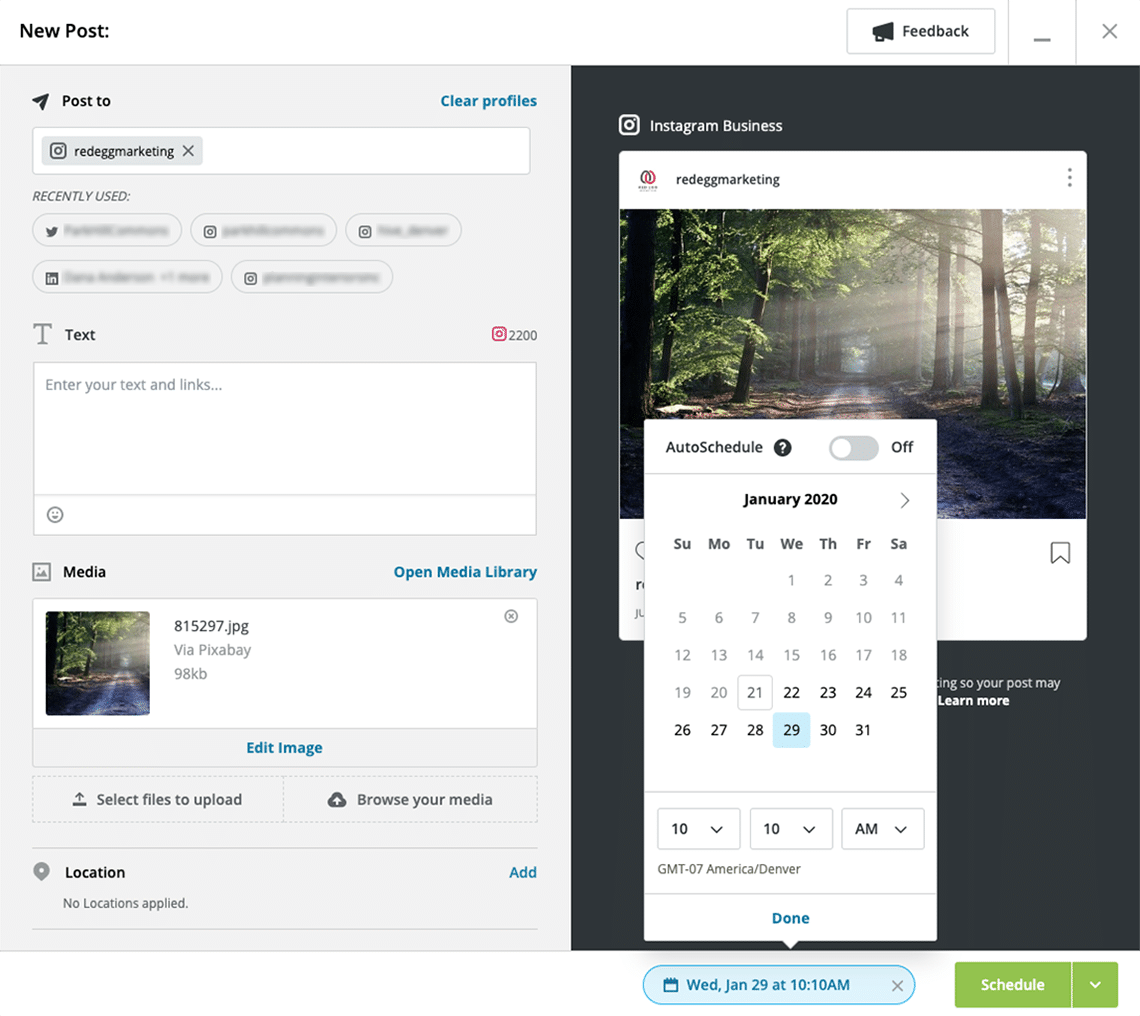Screenshot of how to schedule an Instagram post on Hootsuite