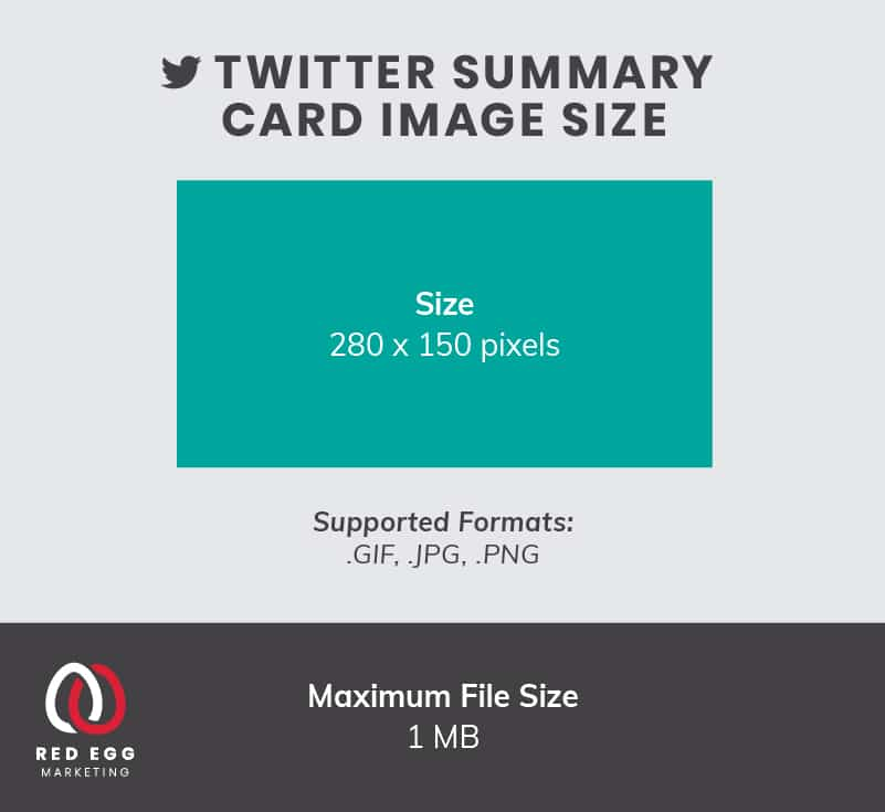 Social media size guide graphics for Twitter summary card images