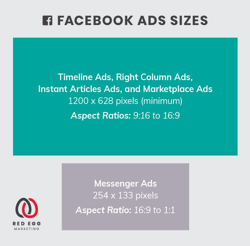 Social media size guide graphics for Facebook ad images