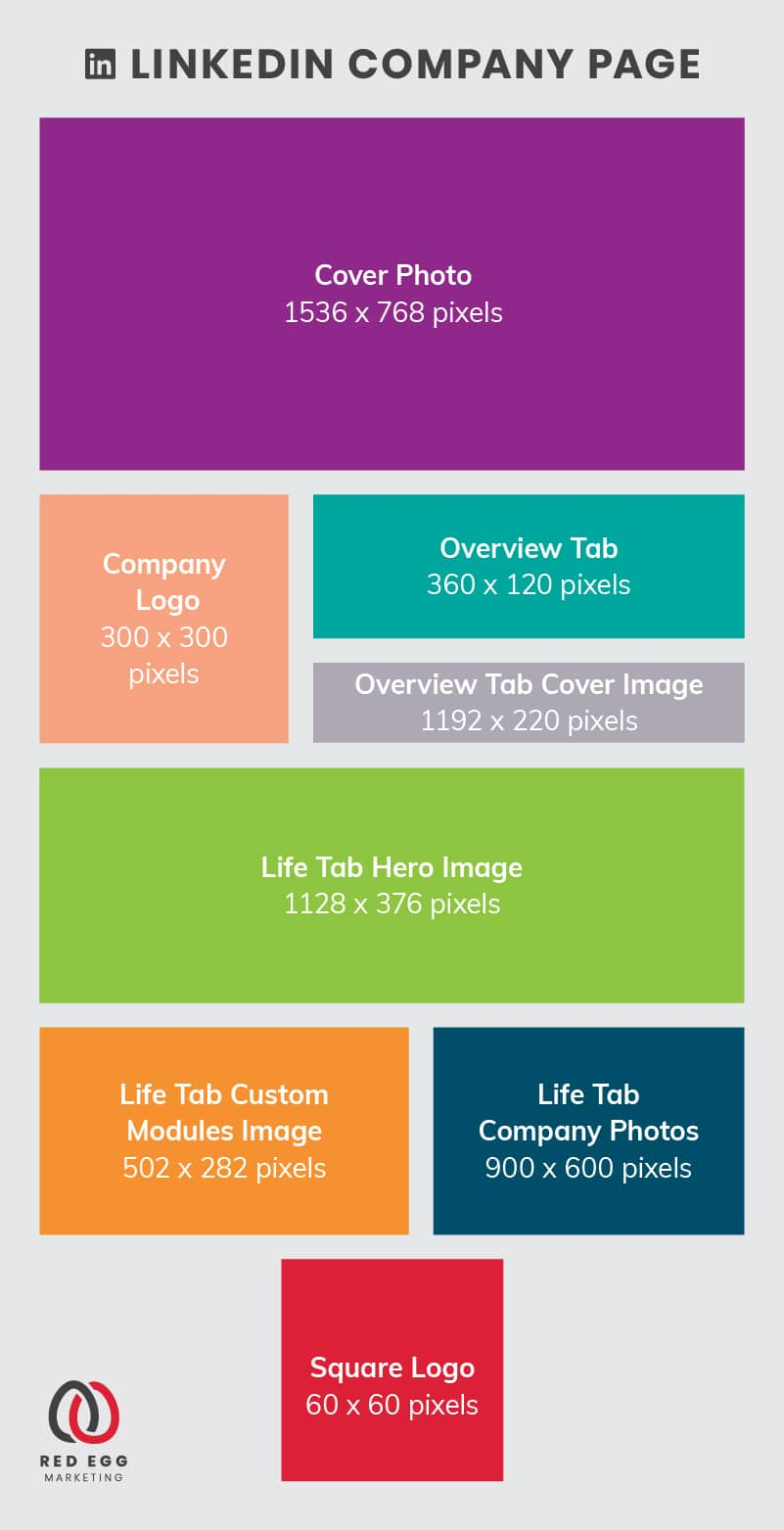Social media size guide graphics for linked in company page images