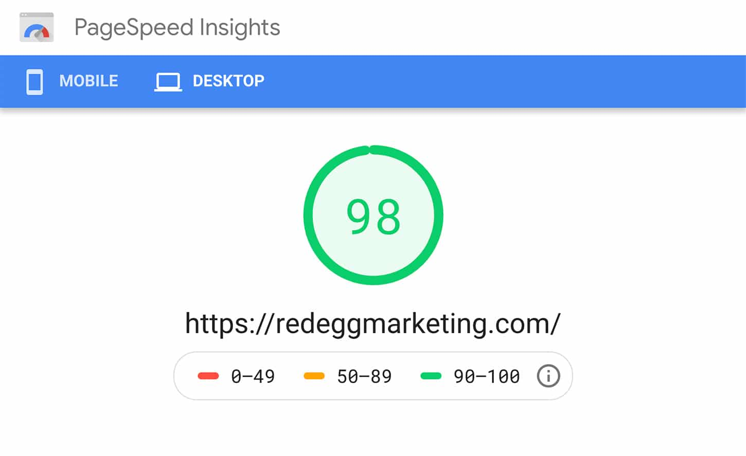 Google Page Speed Insights score of 98 for redeggmarketing.com