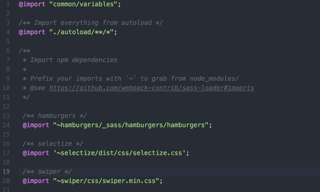 importing npm dependencies in main.scss in Sage starter theme