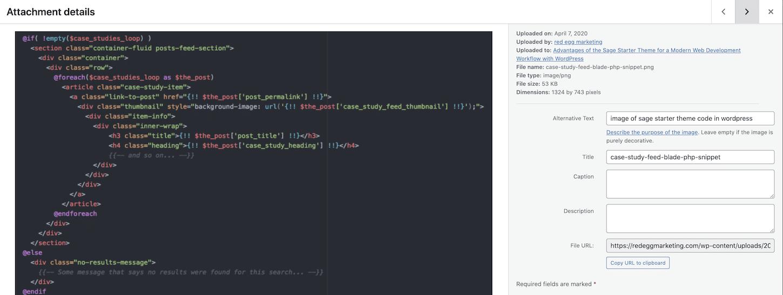 image of sage starter theme code in wordpress